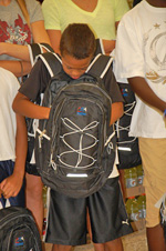 Looking at backpack