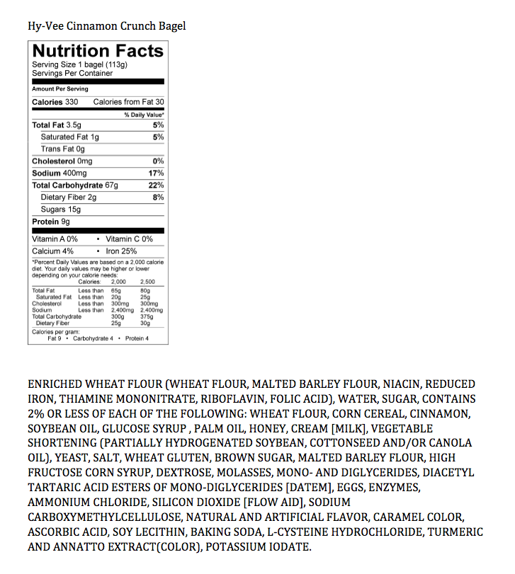 plain bagel nutrition facts with Doughnut Nutrition Facts Krispy Kreme on Takis Fuego Nutrition Facts Label further ZHVua2luLWRvbnV0cy1jYWxvcmllLWNoYXJ0 additionally Shaklee Cinch Nutrition Facts likewise Schwebels Plain Bagels further Nutrition.