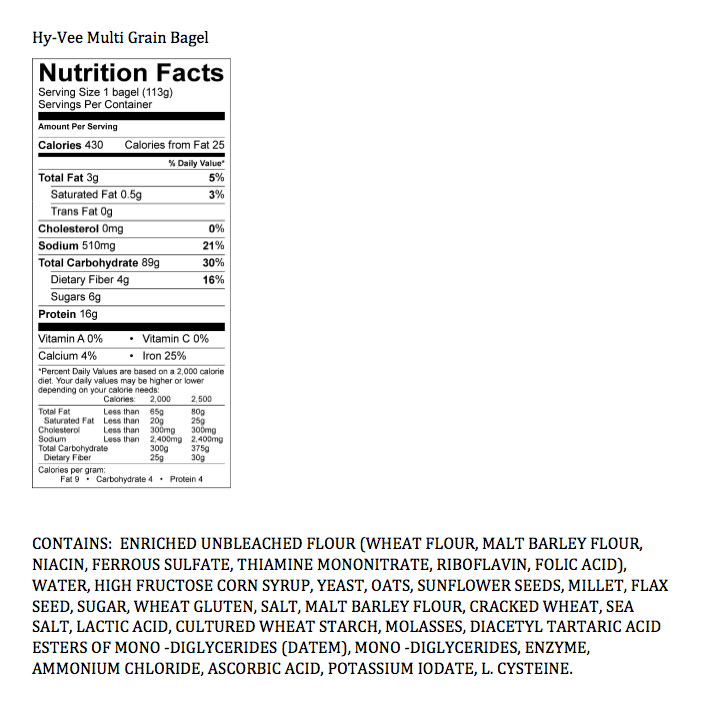 Nutrition facts Label - Breads & Cereals 15 ... |Whole Wheat Bagel Nutrition Facts
