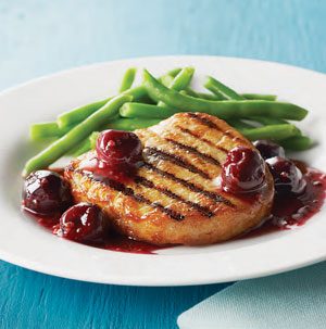 Pork Chops with Fresh Cherry Sauce - Recipe