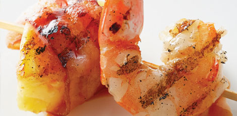Bacon-Wrapped Shrimp with Pineapple Tidbits