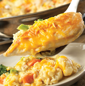 Cheesy Chicken and Rice Skillet