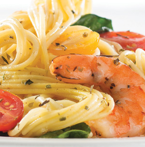 Gluten-Free Pasta and Roasted Shrimp
