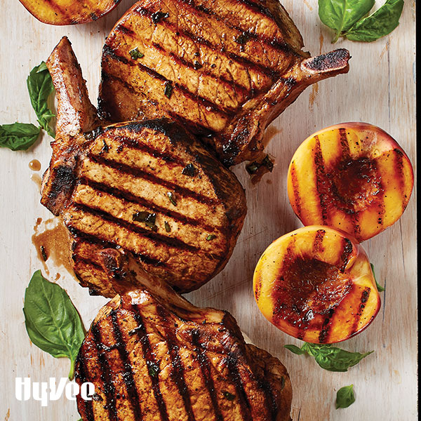 Grilled Balsamic-Maple Pork Chops and Nectarines