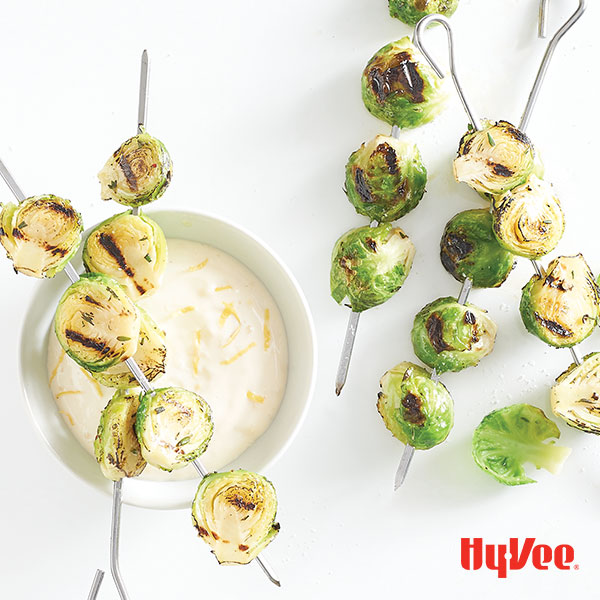 Grilled Brussels Sprouts with Lemon Aioli