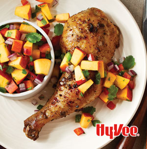 Grilled Lemon-Garlic Chicken with Peach Salsa - Recipe