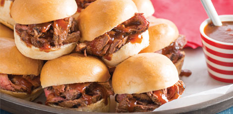 Grilled Steak Sliders with Cola Barbecue Sauce