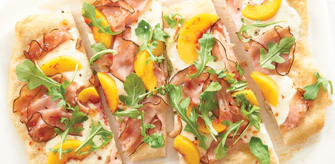 Ham, Peaches and Arugula Pizza