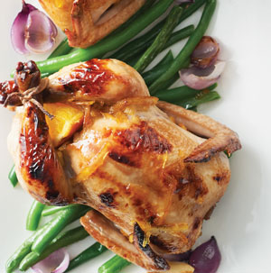 Orange-Glazed Cornish Game Hens