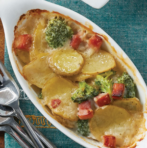 Scalloped Potatoes, Ham and Broccoli