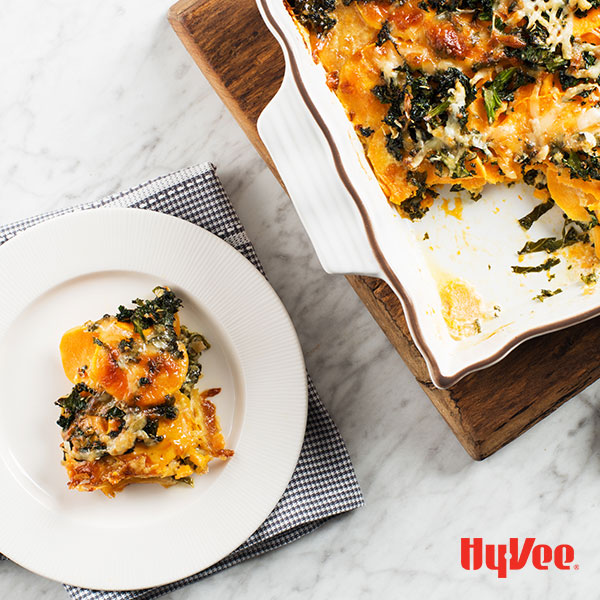 Three-Cheese Sweet Potato and Kale Gratin - Recipe