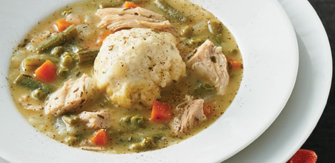 Turkey Vegetable Chowder with Lemon-Basil Dumplings