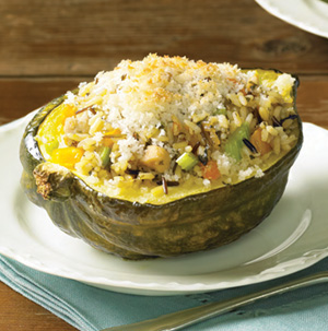 Chicken and Wild-Rice-Stuffed Acorn Squash - Recipe