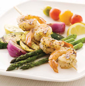 Grilled Shrimp and Mixed Vegetables with Lemon Zest, Garlic and Fresh Herbs
