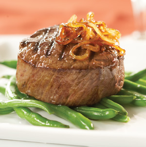 Grilled Filet Mignon with Chipotle Caramelized Onions - Recipe