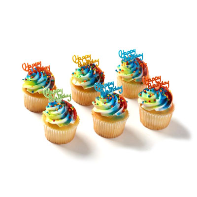 Birthday Cupcakes 6 Count Chocolate Single White