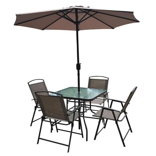 6 Piece Patio Set With 5 Foot Umbrella