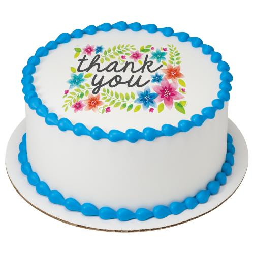 Thank You, Flowers Round Cake 197