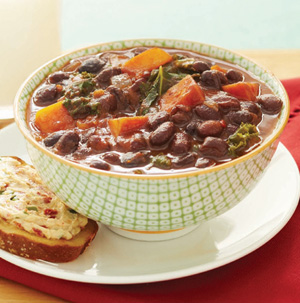 Black Bean Soup with Sweet Potatoes and Kale - Recipe